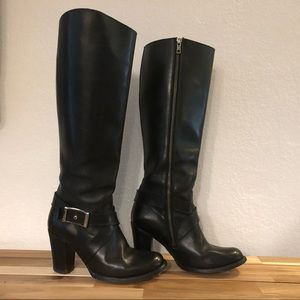Frye Tall Black Heeled Riding Dress Boot